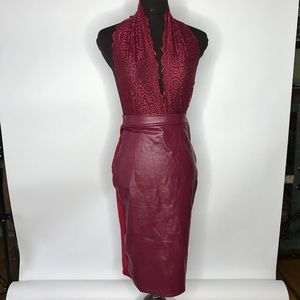 LEATHER and LACE burgundy dress